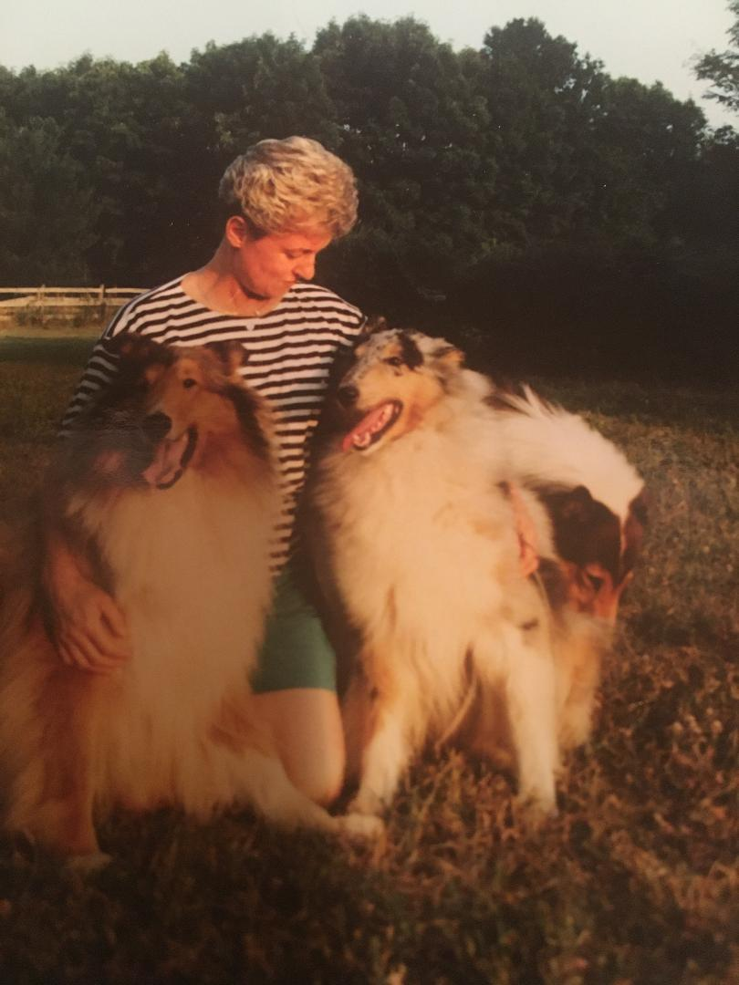 Sharon with her collies, Chad, Caitlyn and Solo